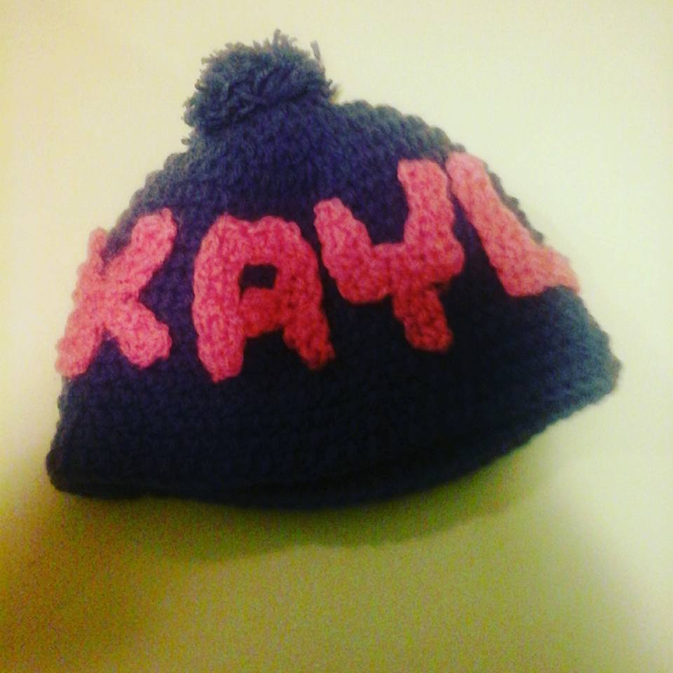 e72a874e4c3 Personalized Crochet Child Beanie Hat with Puffball · Crystals ...