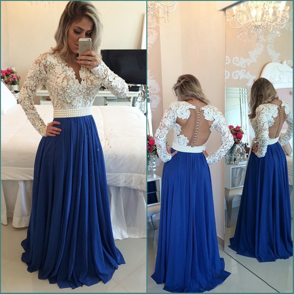 5fa02fe84e4a Navy blue and white lace long sleeve long pom dress