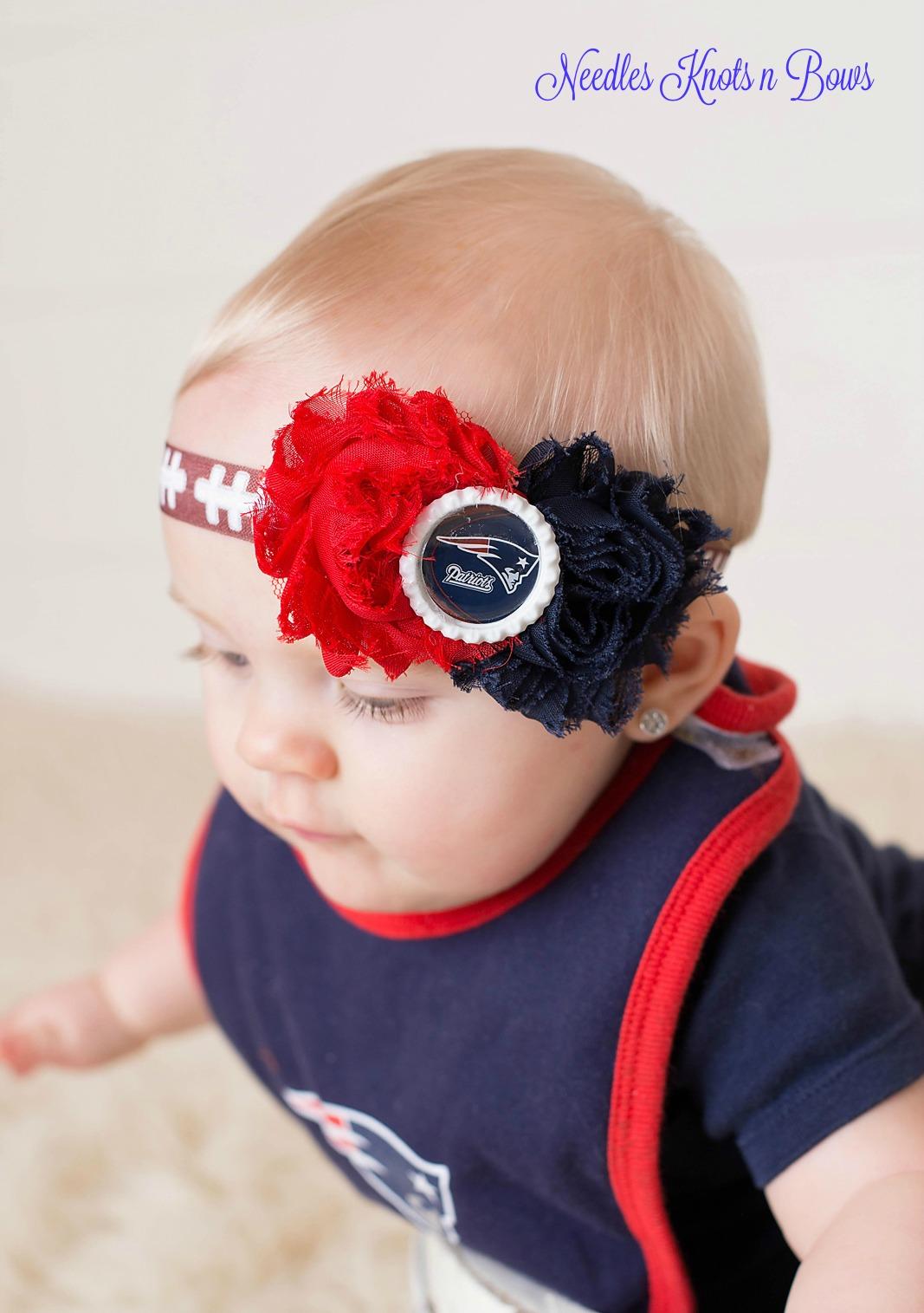 Girls New England Patriots Headband, Baby Girls Shabby Chic Patriots  6jhpRVUO