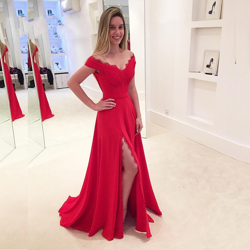 bb9ab9b34c3a Red Prom Dress,Off The Shoulder Formal Gown,Side Slit Evening Dress ...