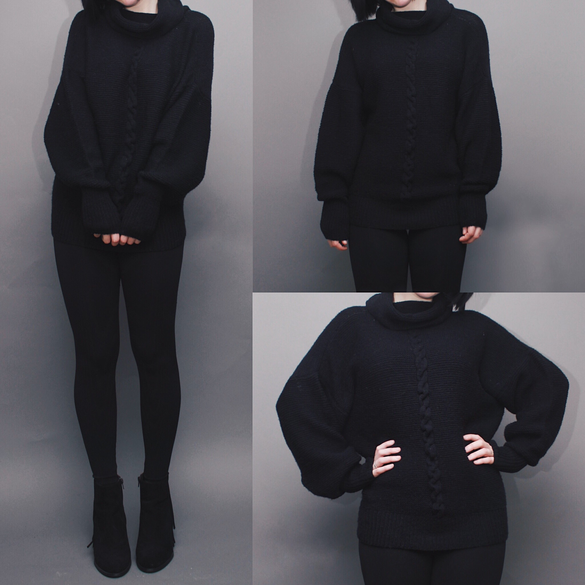 1891586e94 AVAILABLE - Vintage 80s Black Chunky Cable Knit Cowl Neck Batwing Sweater
