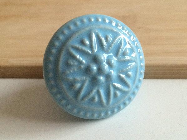 Blue Ceramic Knobs Kitchen Cabinet Knobs Door Pull Dresser Drawer