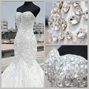 Custom Plus Size Crystal Wedding Dress \