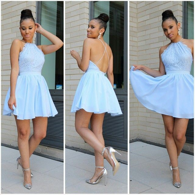 Short Halter Sky Blue Prom Dress Homecoming Dress With Open Back