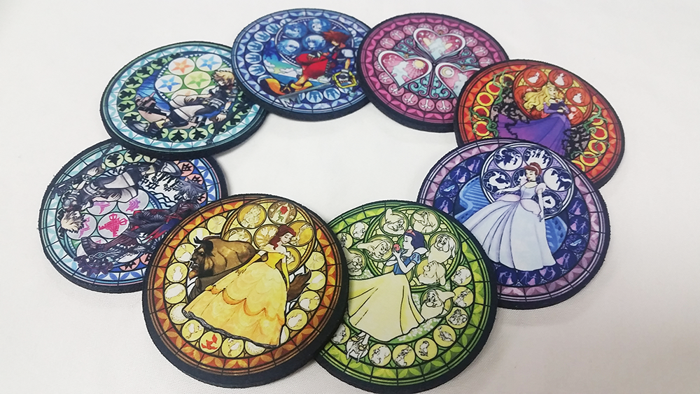 A Set Of 8 Kingdom Hearts Dive To The Heart Stained Glass Disney Princess Neoprene Coasters On