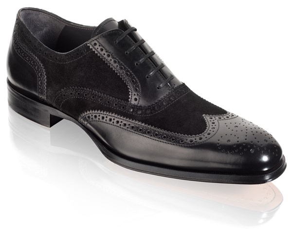 66d2b5cd2 Handmade Men black wingtip suede and leather formal shoes