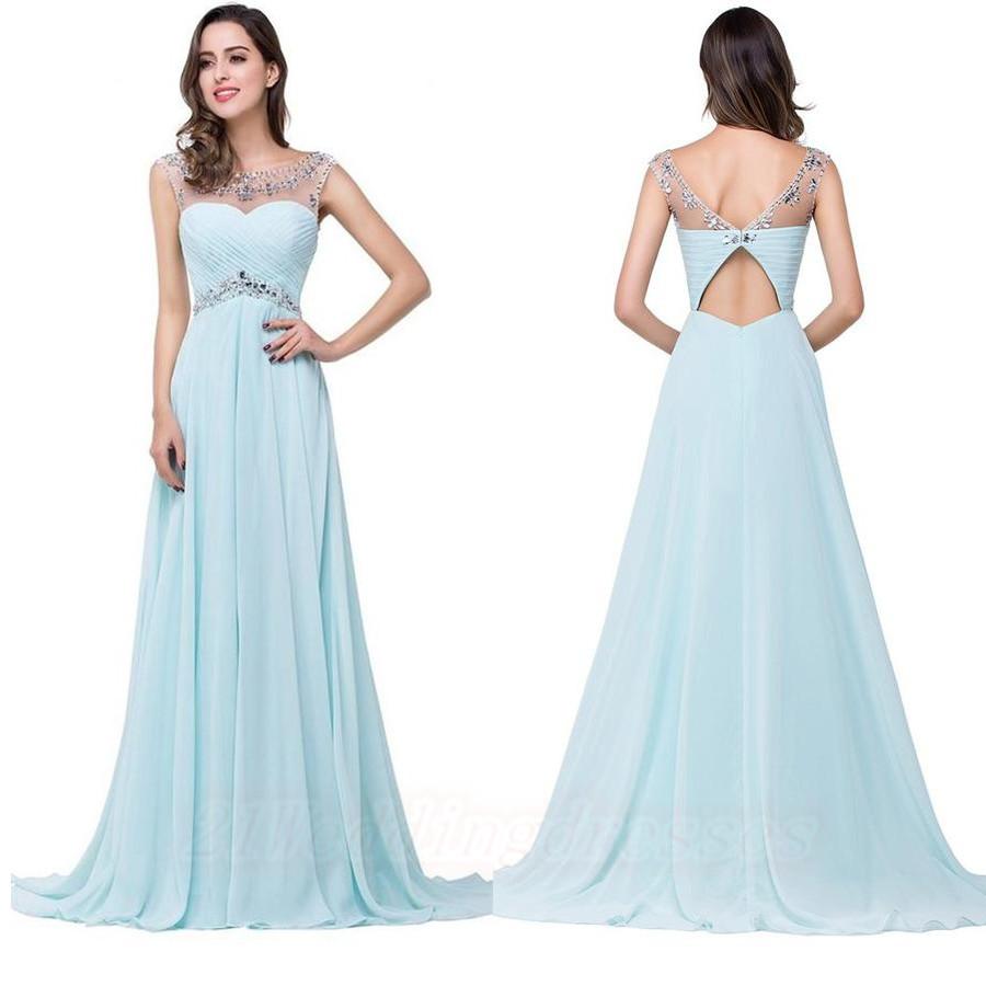 Elegant Chiffon Long Light Sky Blue Prom Dresses,Beaded Evening
