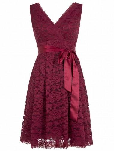 e4149467cbf0 Cute A-line V-neck Short Knee Length Burgundy Lace Bridesmaid Dress ...