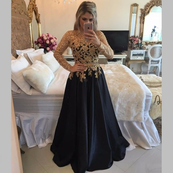 85db83de78fd 2017 Gold Black Prom Dresses Lace Pearls Long Sleeves Shiny A-line ...
