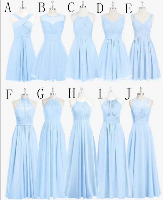 Sky Blue Chiffon Lace Bridesmaid
