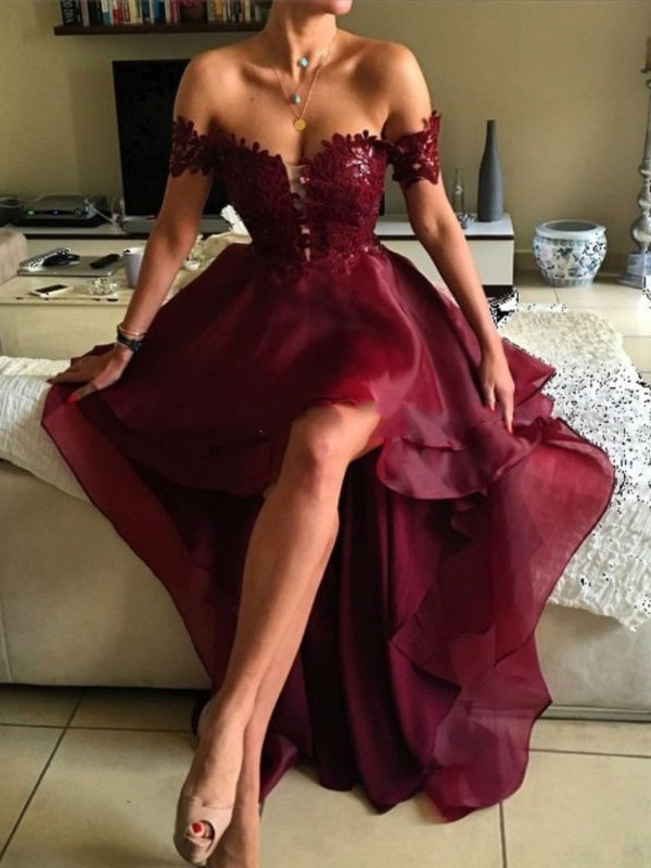 2c7069193ab Burgundy Hi-Lo Prom Dress Lace Off-the-Shoulder Short Sleeves Lace ...