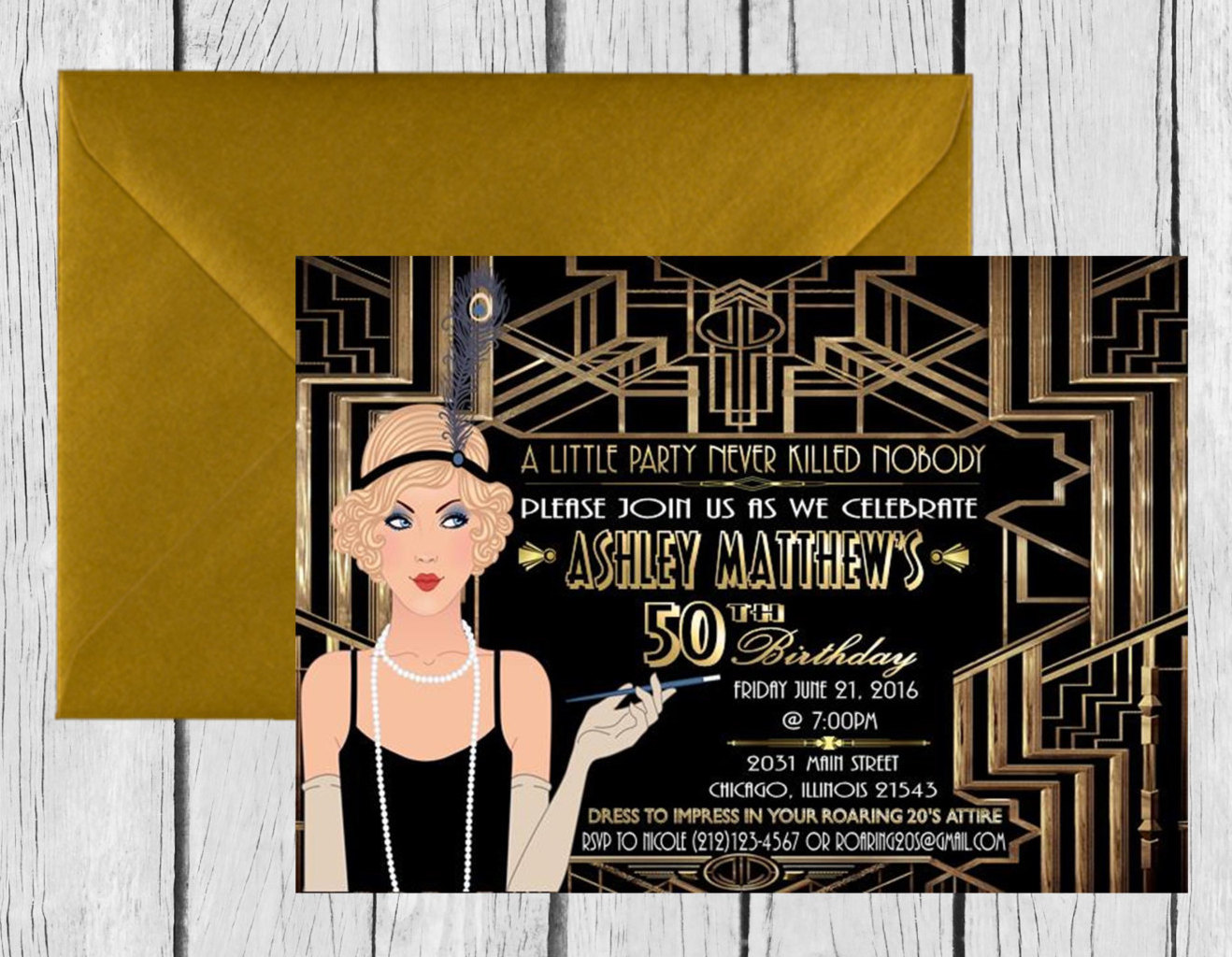 Digital File Gatsby Themed Wedding Birthday Invitation Great Gatsby Party Decor Art Deco Poster Flapper Invitation Sold By Ink Me Beautiful