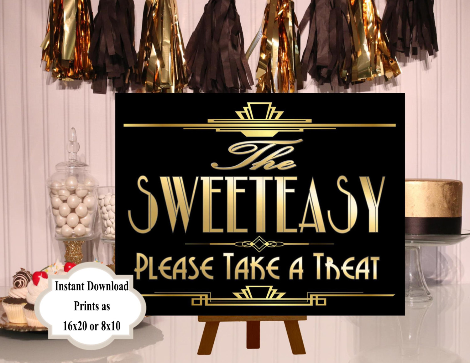 PRINTABLE Sweeteasy Candy sign,Gatsby party decoration, Roaring 20s ...
