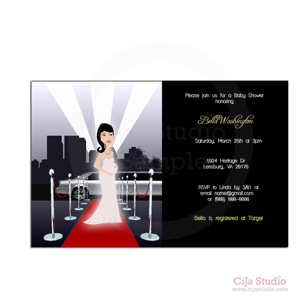 Redcarpet Hollywood Baby Shower Invitations Choice Of Mom To Be