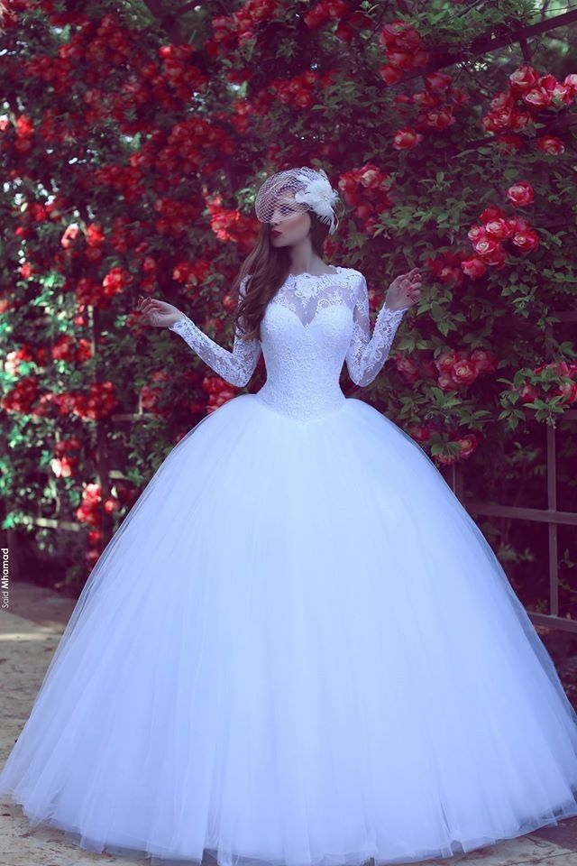 White Lace Ball Gown Long Sleeve Prom Dress Custom Made