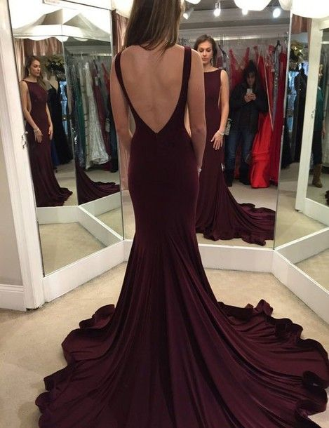 Elegant Burgundy Prom Dress,Formal Prom Dresses,Open Back Prom ...