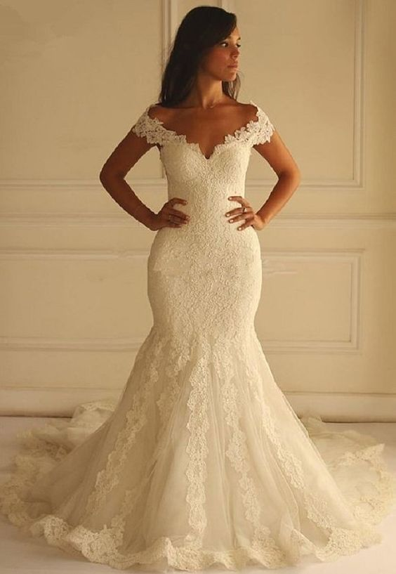 Off The Shoulder Mermaid Long Wedding Dress ,Handmade Bridal Dress ...