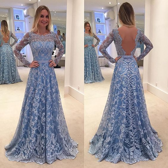 Long Sleeves Prom Dresses,Open Back Evening Dresses,Lace Long Prom ...