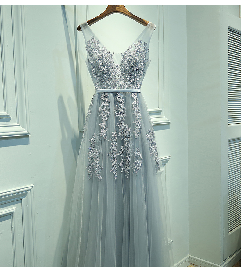 V Neckline Grey Lace Evening Prom Dresses, Tulle Long Party Prom ...