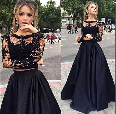 Lace A Line Prom Dresstwo Pieces Formal Dressesevening