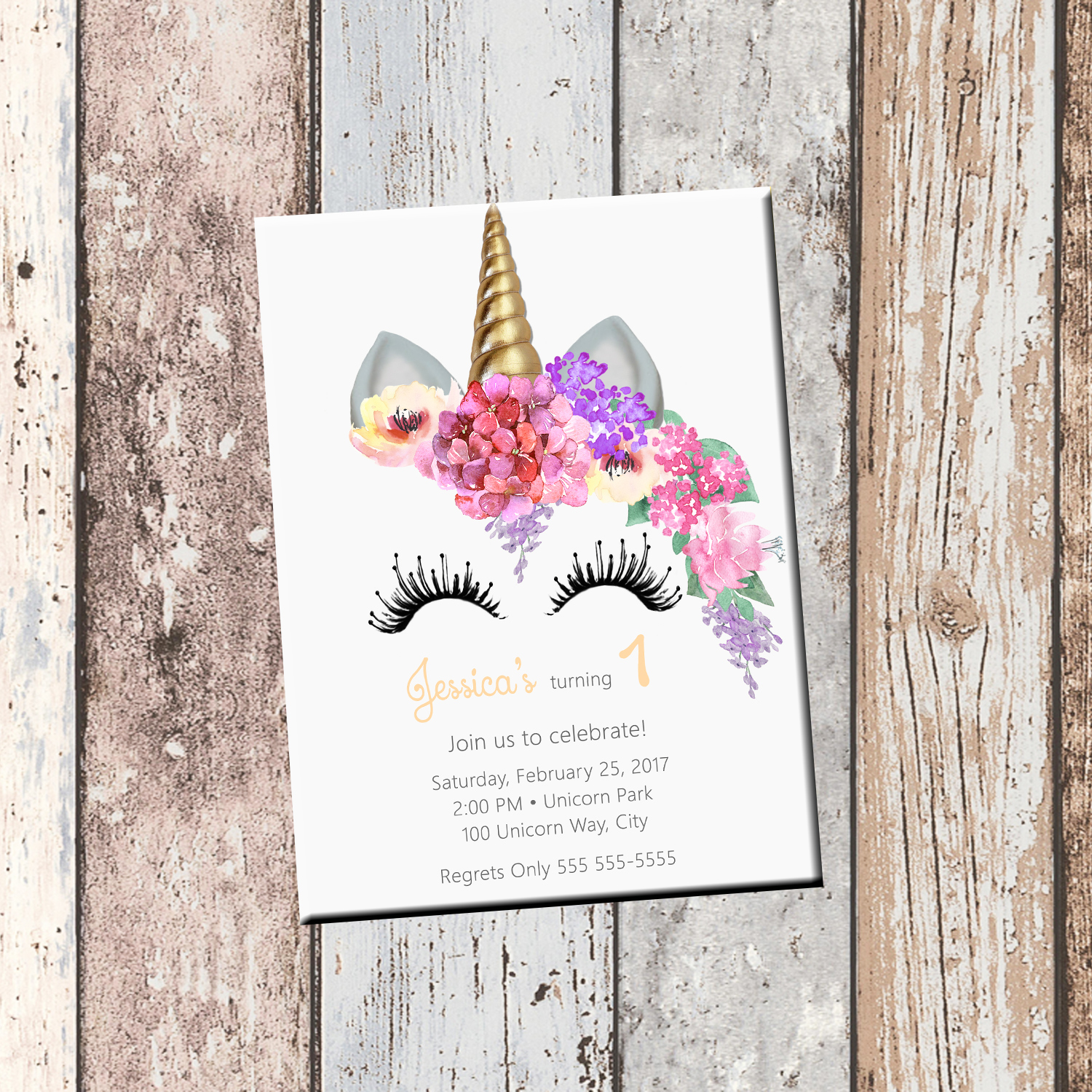 Unicorn Birthday Personalized Invitation 1 Sided Card