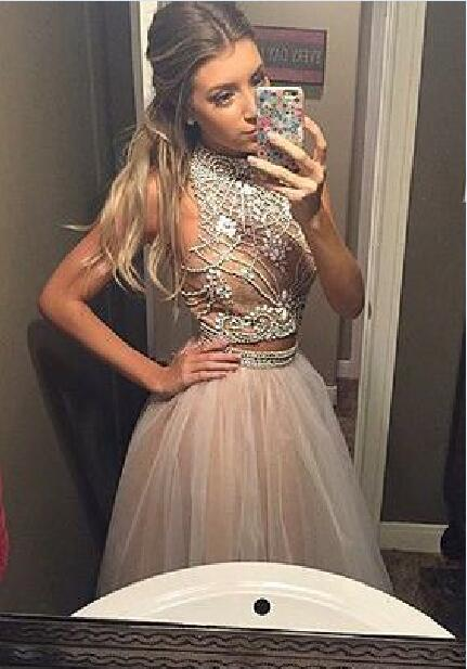 44b8b12e0ad Sexy Luxury Bling Sparkle Two Pieces Prom Dress Light Pink Beaded ...
