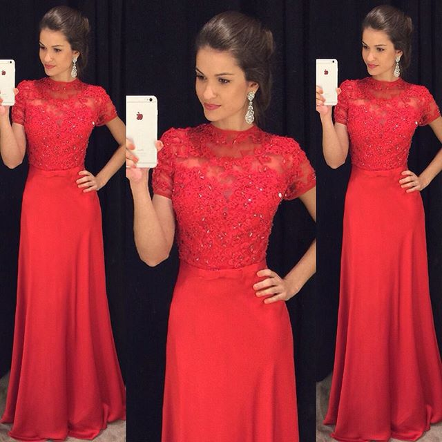 D57 Red Prom Dresses, Prom Gowns, Lace Prom Gowns, Elegant Evening ...