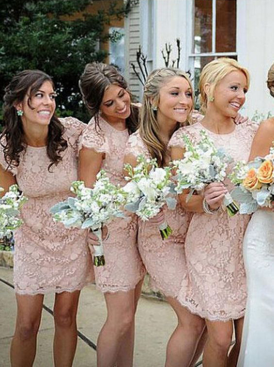 eb8941a80fe16 Vintage Lace Bridesmaid Dresses with Cap Sleeves