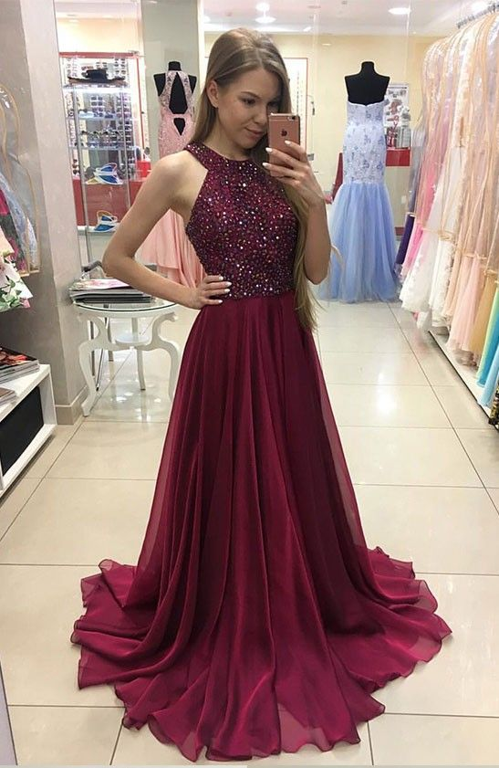 A-line Beaded Bodice Halter Prom Dress,Long Chiffon Prom Evening ...