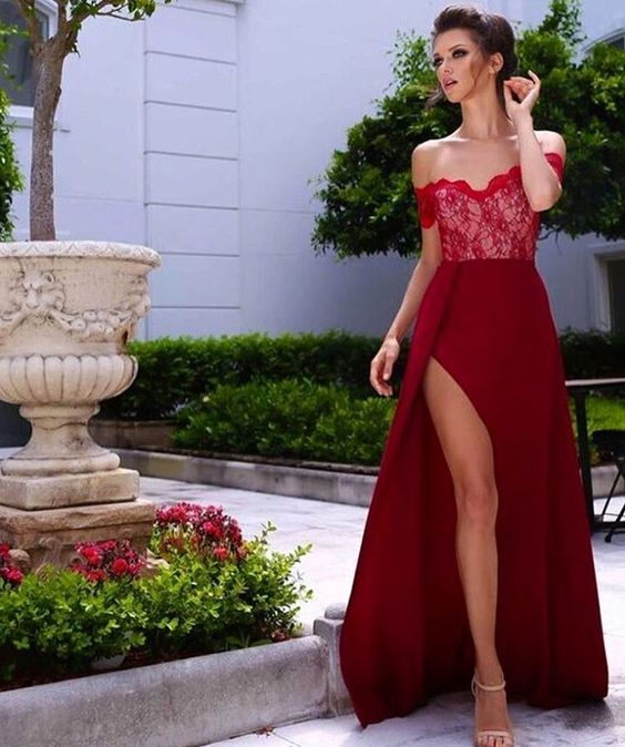 3207381f47 2017 Custom Made Red Prom Dress, Lace Evening Dress,Off The Shoulder ...