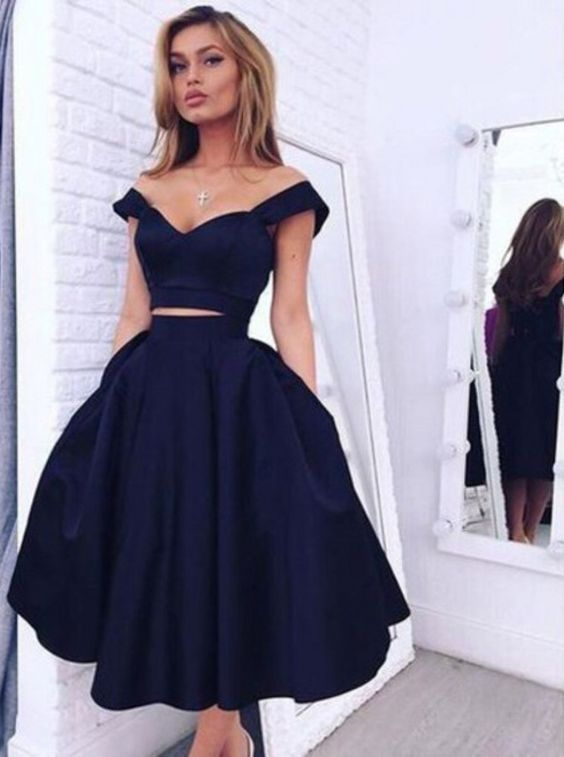 eb9a2296ab5 Vintage Style A-line Two-piece Navy Blue Homecoming Dress Evening Dress