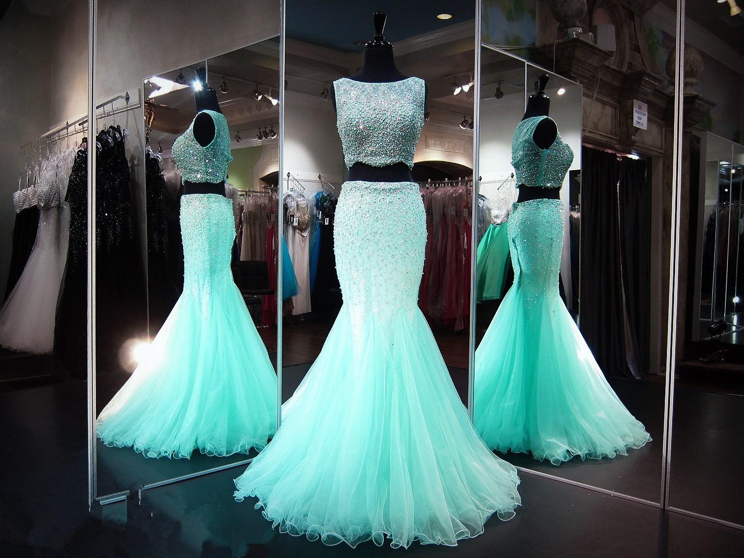 2017 Custom Made Two Pieces Prom Dress,Beading Evening Dress, Floor ...