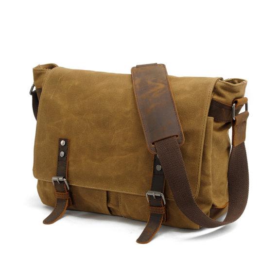 6e9002253 Waxed Canvas Messenger Bag / Leather Messenger Bag / Laptop Messenger Bag /  Men Messenger Bag / Messenger Bag Men / Satchel / Briefcase men