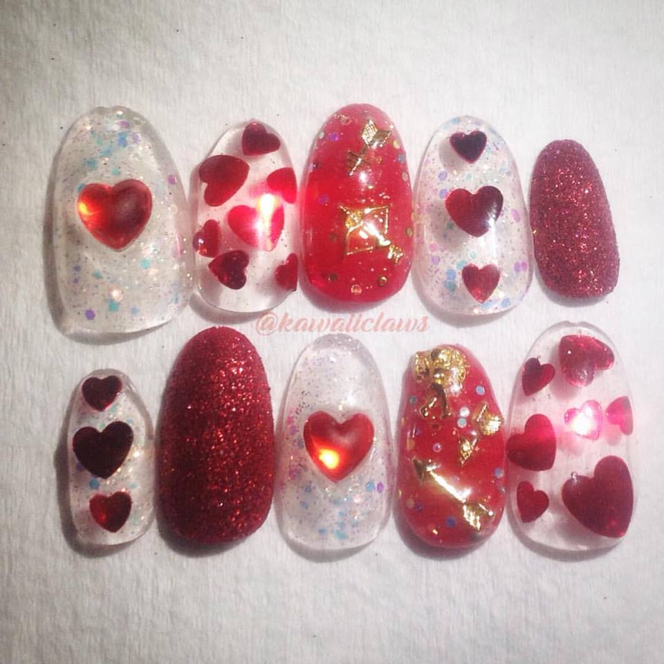 Red Glitter Hearts Cherub/Angel Bow & Arrow Valentine Gel Nail Art ...
