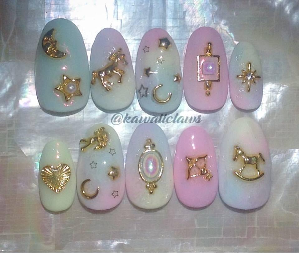 Pastel Lolita Decora Moon & Stars & Unicorn Gold Charms Marble Gel ...