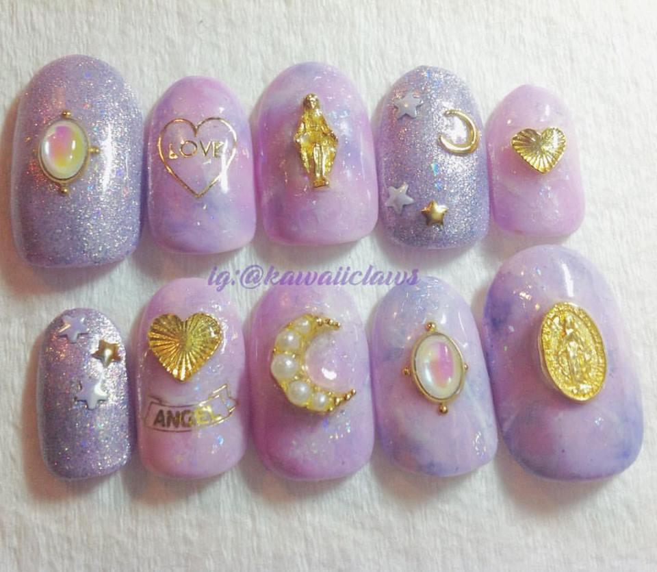 Pastel Purple Pink Lavender Marble Opalescent Glitter Gel Nail Art