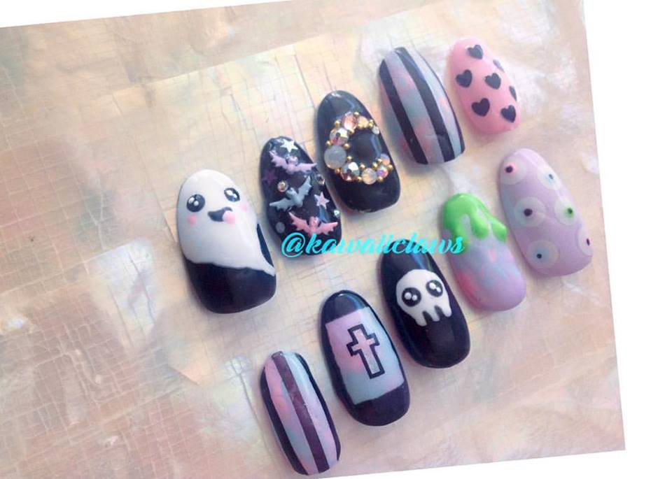 Pastel Goth Kawaii Halloween Creepy Cute Gel Nail Art Press on false ...