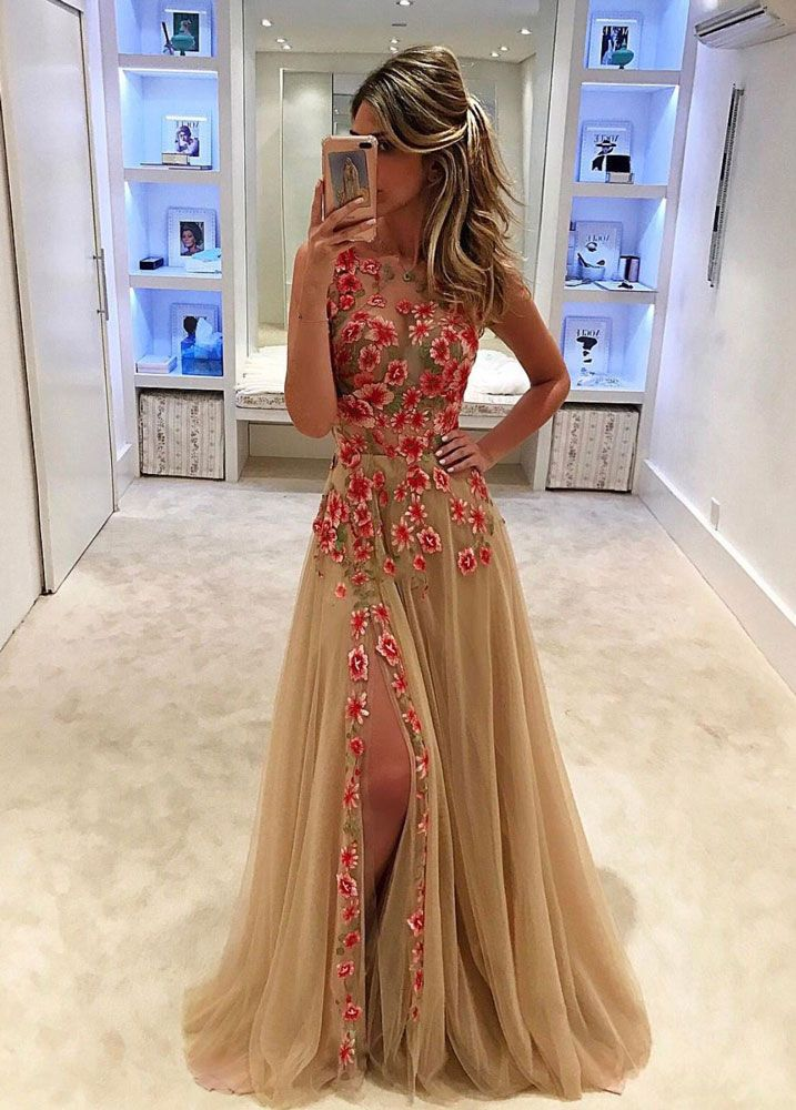 Unique champagne tulle lace long prom dress 29ccdc17a