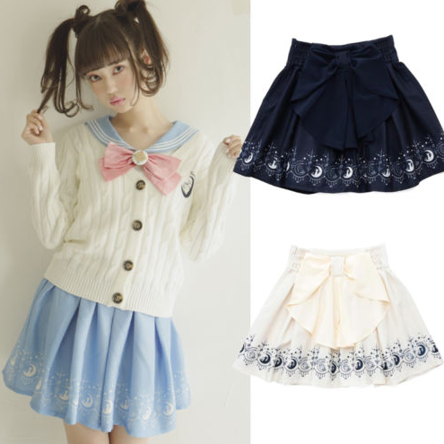 eaf3a1fdd2c Preppy Sailor Moon Printed Skirt Girly Bowknot Midskirt DC94 · The ...