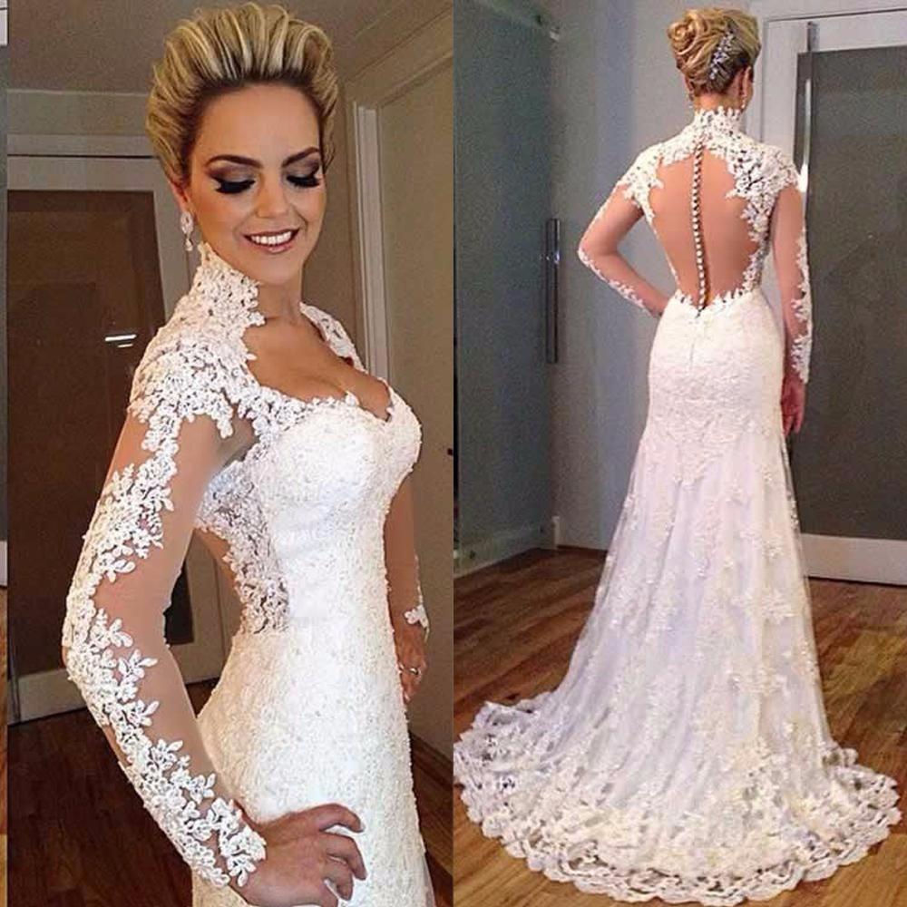 H226 Designer Lace Vintage Long Sleeve Wedding Dress,See Through ...