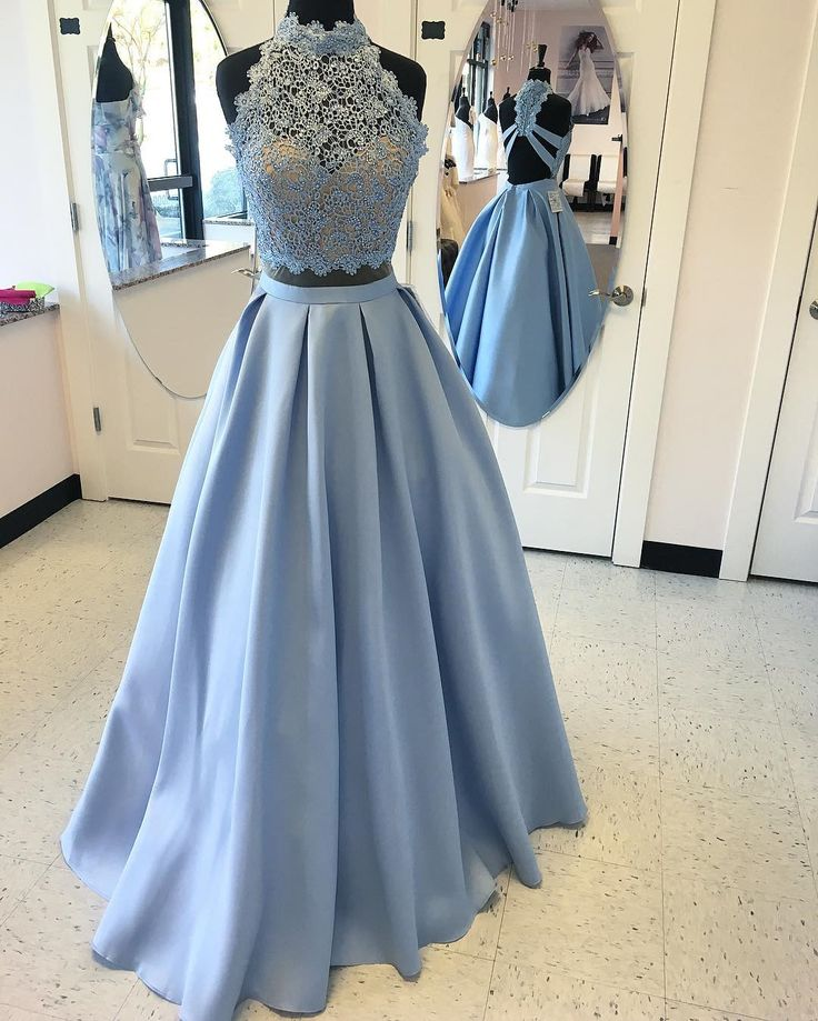 99cb0bc0412cc Elegant light blue lace 2 pieces long prom dress,evening dress