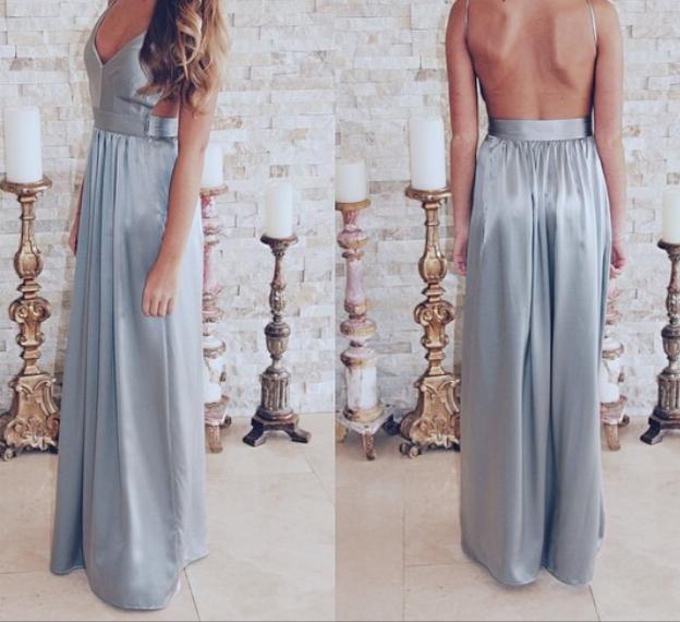 Gray backless long prom dress,gray evening dresses · Dream Prom ...