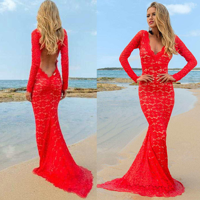 1fc5d862c27 V neck red prom dresses long sleeve lace evening dresses open back prom  dress with sweep