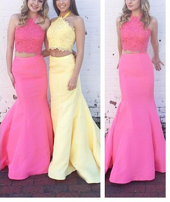Lovely Prom Dresseshalter Lace Top Mermaid Prom Dress Two Piece