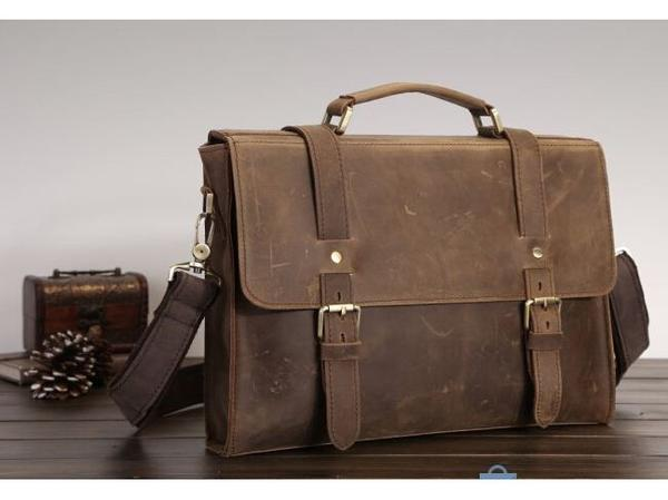 Genuine Solid Dark Brown Leather Modern Vintage Laptop Bag with Slim  Design(S66) ... 801f9abd4522f
