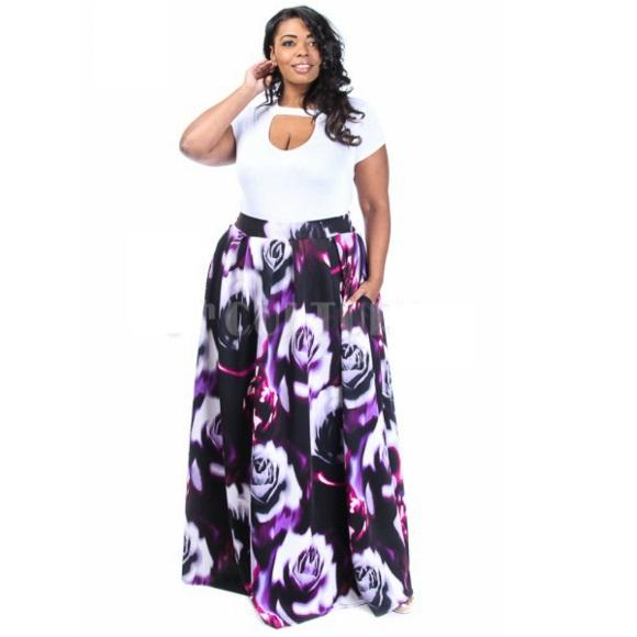 d74ad61645e Plus Size Floral Print Scuba Maxi Skirt with Pockets Purple ...