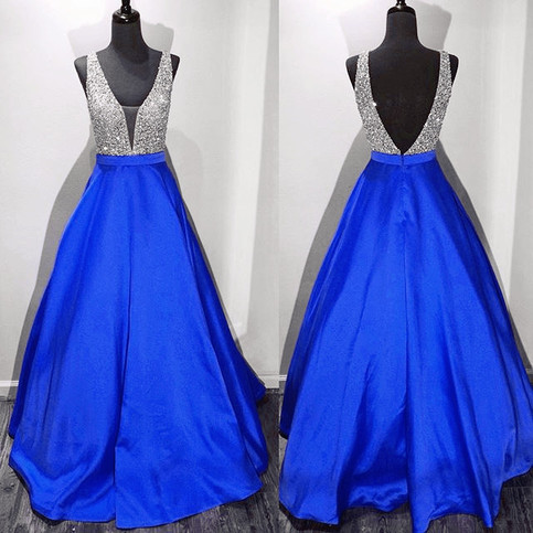 Royal Blue Prom Dress Deep V Back Birthday Party Dresses