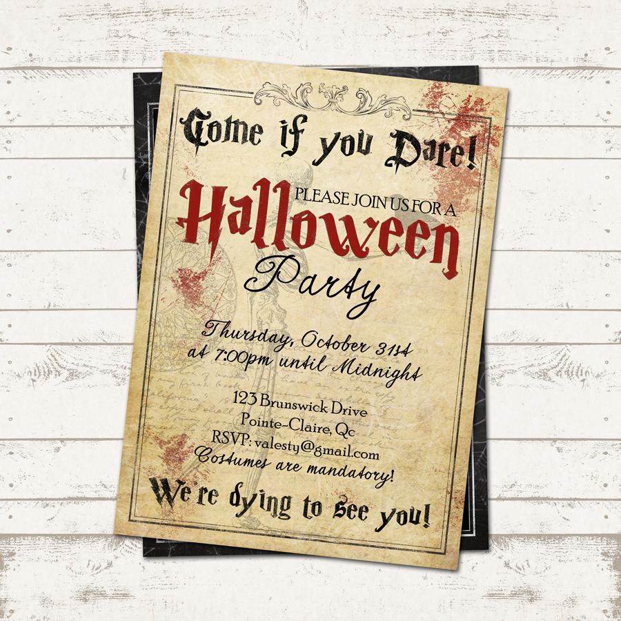 Halloween Party Invitation - Creepy, Vintage, Old Paper, Skeleton ...