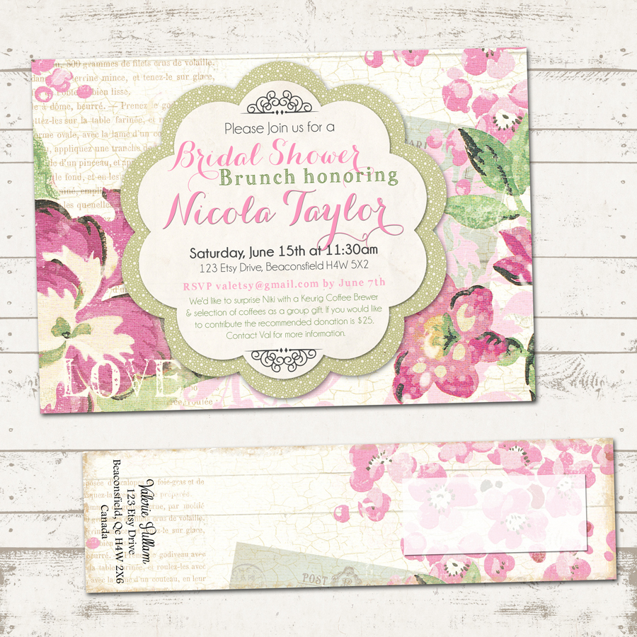 Bridal Shower Invitation with Wrap Around Address Labels - Shabby ...