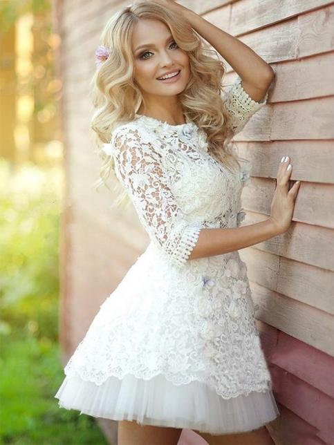 Short Prom Dress White Homecoming Dress Lace Cute